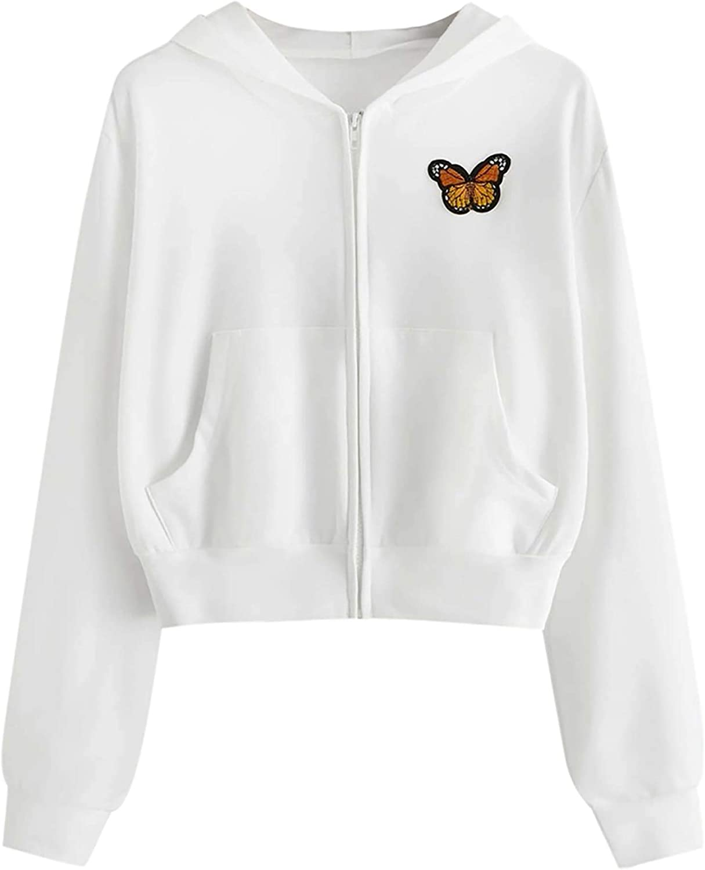 VLOJELRY Womens Butterfly Long Sleeve Casual Hoodies Patchwork Pocket Sweatshirt Crop Top Zip Up Pullover