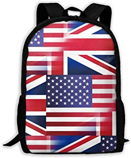 Leisure Outdoor Sports Bag School Backpack American British Flag Portable Laptop Bag Travel Daypack for Classroom/Office/Library/Zoo/Beach/Playground