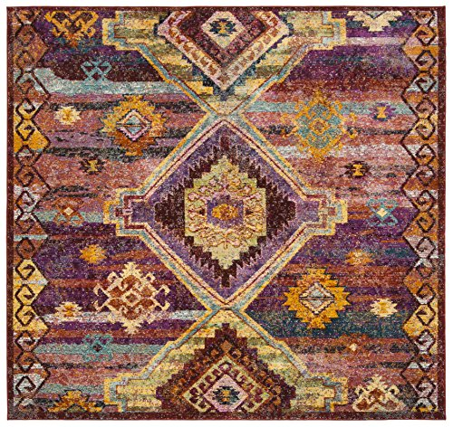 Safavieh Savannah Collection Premium Wool Square Area Rug, 7', Red/Violet