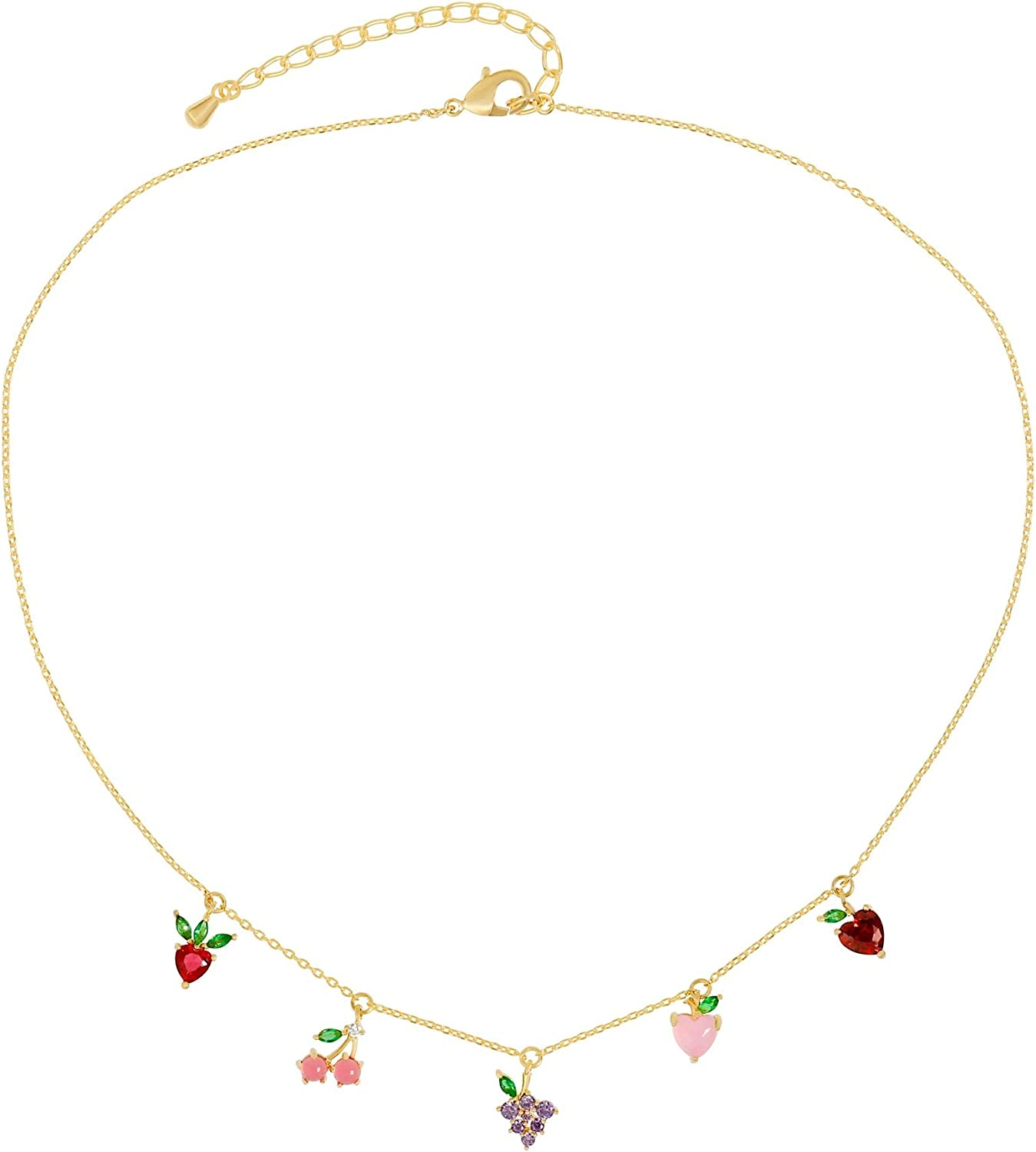 Dainty Cute Fresh Fruit Choker for Women Girls 14K Gold Plated Chain Cubic Zircon Cherry Pineapple Strawberry Colorful Crystal Pendant Necklace for Women Girls Jewelry