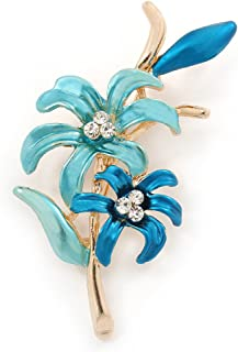 30mm L Blue// Teal Two Daisy Crystal Floral Brooch