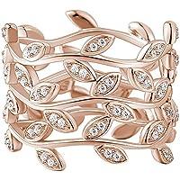 SOUFEEL <蔓> 三連指輪 レディース リング シンプル 指輪 ジルコン ファッション デザイン 人気 華奢 シルバーリング 925 婚約 結婚 婚約指輪 ピンクゴールド サイズ 16