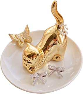 PUDDING CABIN Cat Ring Holder Dish for Jewelry - Trinket Dish for Ring Earrings Bracelet Tray