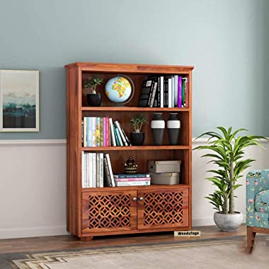WOODSTAGE Solid Sheesham Wood Book Shelf with 2 Cabinet Bookcase Books Display Rack Unit for Home - Honey Finish