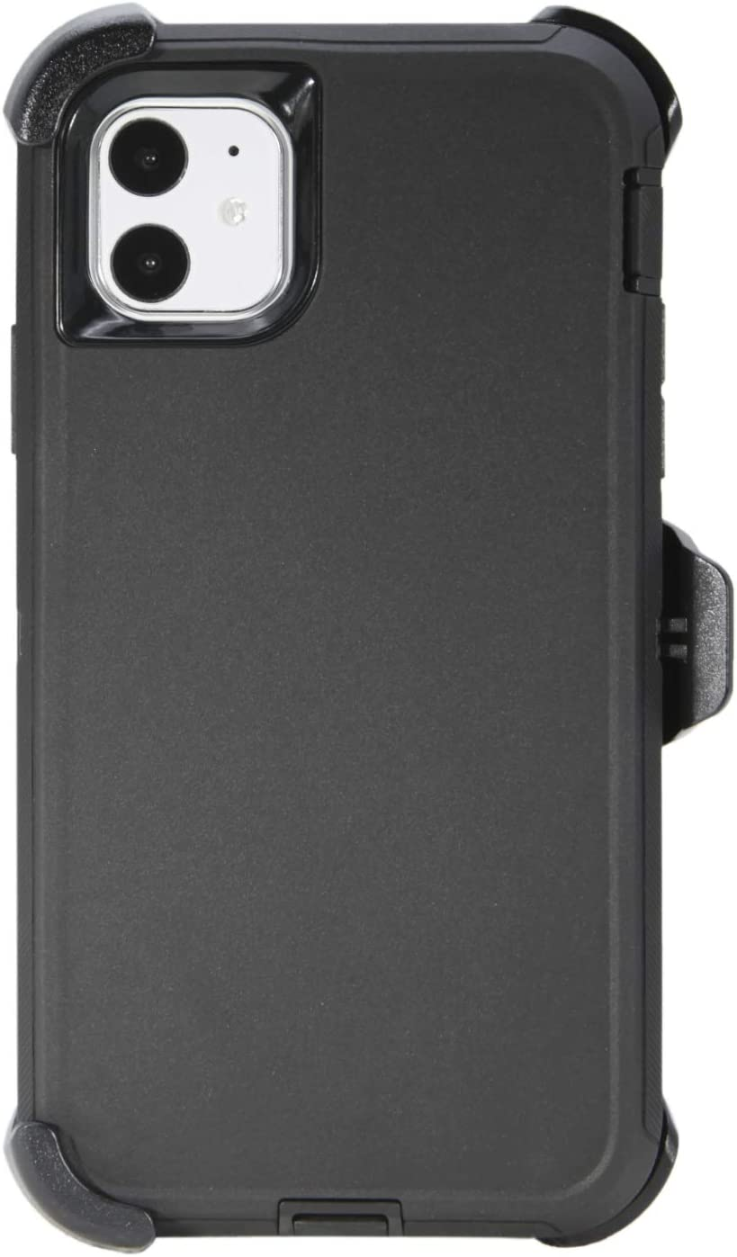 """WallSkiN Turtle Series Belt-Clip Holster Cases for iPhone 11 (6.1""""), 3-Layer Full Body Protective Defender Cover & Certified Shock, Drop, Dust Proof – Black/Black"""