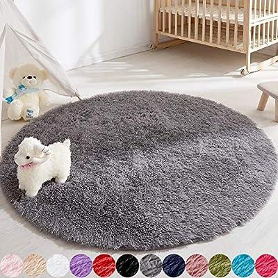 Soft Round Rug for Bedroom, 5'X5' Gray Rug for Nursery Room, Fluffy Carpet for Kids Room, Shaggy Floor Mat for Living Room, Furry Area Rug for Baby, Teen Room Decor for Girls Boys