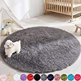 Soft Round Area Rug for Bedroom,4 ft Gray Circle Rug for Nursery Room, Fluffy Carpet for Kids Room, Shaggy Floor Mat for Living Room, Furry Area Rug for Baby, Teen Room Decor for Girls Boys