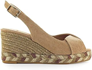 CASTANER Women's BRIANDA6325 Beige Cotton Wedges
