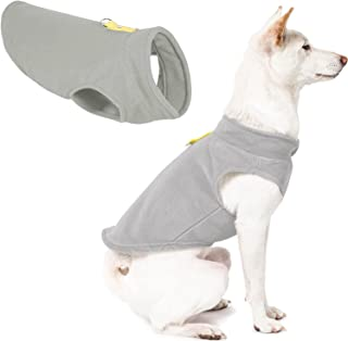 Gooby Fleece Vest Dog Sweater - Gray-Yellow, Large - Warm Pullover Fleece Dog Jacket with O-Ring Leash - Winter Small Dog ...