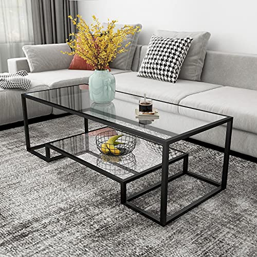 Metal Glass Coffee Table, Black Accent Modern Tempered Glass Side Table, Additional Storage Shelf, for Living Room Home Classy Furniture Office Decor