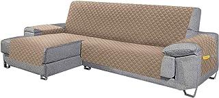 Cabetex Home - Cubre sofá - Chaise Longue - Reversible con ajustes y Bolsillos - Microfibra Acolchada Antimanchas (Beige)