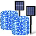 2 Pack Each 33ft 100 LED Solar Fairy Lights Outdoor Waterproof, Silver Wire Blue Solar String Lights, 8 Modes Solar Christmas Lights
