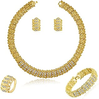 18K Gold/Silver Plated Shinning Wide Necklace Crystal Jewelry Sets Necklace Earrings Bracelet Ring