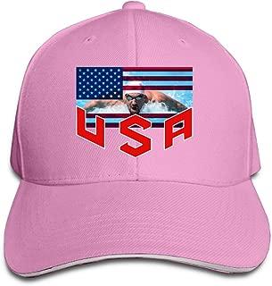 Doisybob Unisex USA Swimming Michael Phelps Adjustable Snapback Baseball Caps Pink One Size