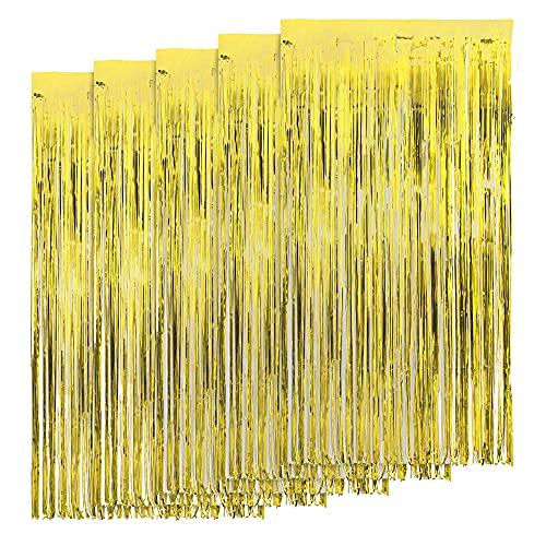 AIBAOBAO 5 Stücke Lametta Vorhänge, Metallisch Lametta Vorhang,Funkeln Vorhang Dekoration,Tür Fenster Hintergrund Foto Requisiten für Party Deco (Gold)