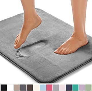 Gorilla Grip Original Thick Memory Foam Bath Rug, 24x17, Cushioned Soft Floor Mats, Absorbent Premium Bathroom Mat Rugs Rugs, Machine Washable, Luxury Plush Comfortable Carpet for Bath Room, Graphite