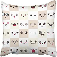 Emvency Decorative Throw Pillow Covers Cases Character Cute Faces Different Emotions Expression Cartoon Hungry Tired Sad Smiley Adore 16x16 inches Pillowcases Case Cover Cushion Two Sided