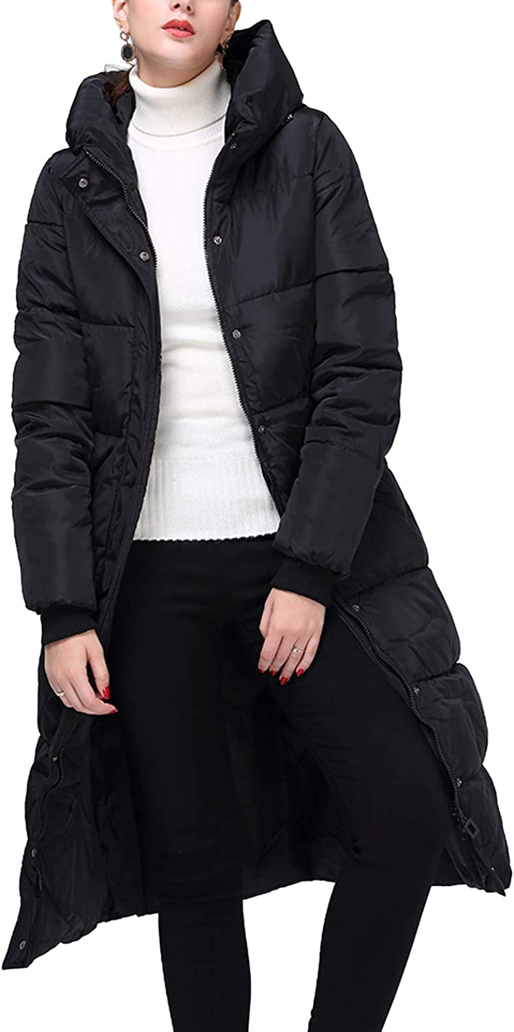 Yeokou Womens Winter Slim Quilted Long Drawstring Hooded Coat Puffer Jacket Parka
