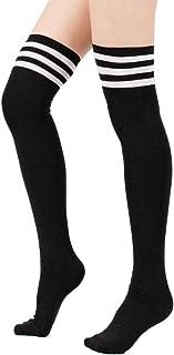 Women Thin Stripes Tube Thigh High Tights Over Knee Socks...