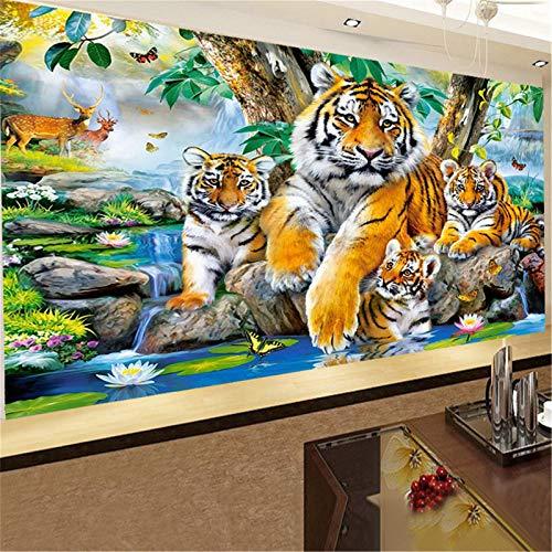 Nicole Knupfer 5D Diamant Painting Tiger Bilder Full Set, Diamond Painting Süßes Tier, DIY Diamant Malerei, Strass Stickerei Kunsthandwerk Leinwand (120x50cm)