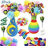AISHNA Flower Craft Kit for Kids, 2 Packs DIY Vase Art Kits with Colorful Button & Felt Flowers, Creativity Toy Craft Kit for 4 - 12 Years Old Children (2) (Style 1)