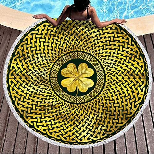 Hothotvery Toallas de playa redondas con borlas irlandesas Shamrock Clover con nudo celta impreso, mullidas, de secado rápido, toallas de baño para niños, color blanco, 150 cm