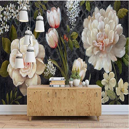 Fototapete Wandbild Hintergrund 3d TapetenBenutzerdefinierte 3d machen Wandbild europäische Retro Kamelie Tulpe handgemalte abstrakte Ölgemälde Hintergrund Tapeten 3d Wandbild-Über 300 * 210 cm