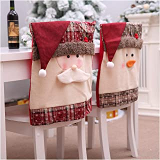 99AMZ Funda de Silla de Navidad para Decoración de Navidad Fundas para Silla Santa Claus Muñeco De Nieve para Navidad Fiesta Cena Comedor Decoracion Sillas Respaldo Fundas 20 X 19 Inch (2 PCS)