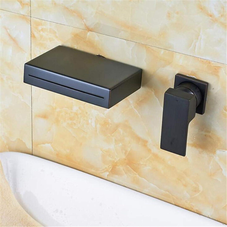 Wasserhahn Waschtischmischer l Eingerieben Bronze Fertig Wand Montiert Einhand Waschbecken Wasserhahn Wasserfall Auslauf Mischbatterie