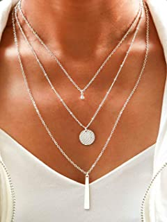Multi-Layered Round Disc Necklace Chain Vertical Bar...