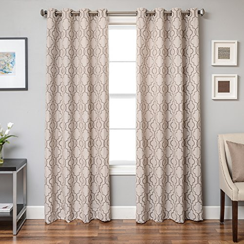 54 x 84 Chocolate Softline Ransom Series Embroidered Window Panel//Treatment//Curtain//Drape with Modern Grommet Top and Lush Pattern in Chocolate