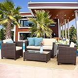 Wisteria Lane Outdoor Patio Furniture Set,5 Piece Conversation Set Wicker Sectional Sofa Loveseat Chair Gray Wicker