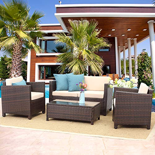Wisteria Lane Outdoor Patio Furniture Set,5 Piece Conversation Set Wicker Sectional Sofa Loveseat Chair Brown Wicker,Beige Cushions