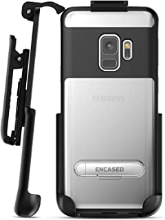 Encased Clear Case with Belt Clip for Samsung Galaxy Note 9 Slim Holster Clip Cover with Metal Kickstand and Belt Holder (Black)