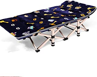 Loungers Folding Bed Single Bed Home Adult Bed Siesta Lounge Chair Office Camping Bed accompanying Bed (Color : Black, Size : 190 * 75 * 36cm)