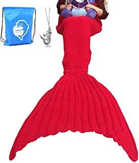 LAGHCAT Mermaid Tail Blanket Crochet Mermaid Blanket for Adult, Soft All Seasons Sleeping Blankets, Whale Tail Pattern (71 x 35.5 Inch, Red)
