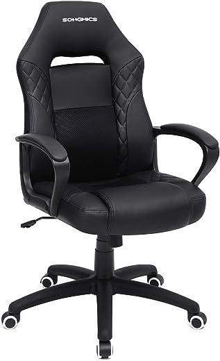 SONGMICS Gamingstuhl, Bürostuhl mit Wippfunktion, Racing Chair, ergonomisch, S-förmige Rückenlehne, gut für die Lendenwirbelsäule, bis 150 kg…
