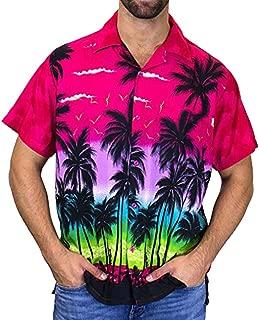 Hawaiian Polo Shirt Men V Neck Colorful Striped Cotton Short Sleeve Chest Pocket Top