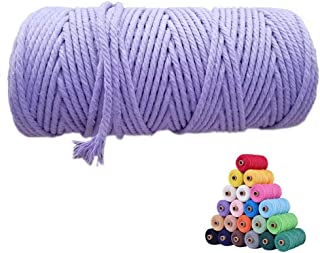 flipped 100% Natural Macrame Cotton Cord,3mm x109 Yard Twine String Cord Colored Cotton Rope Craft Cord for DIY Crafts Kni...