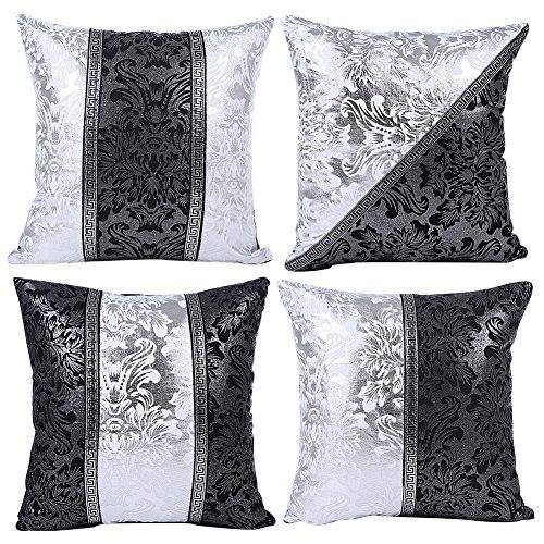 JOTOM Kissenbezug Schwarz Weiß Bling Dekokissen Kissenhülle Fall Sofa Auto Kissenbezüge Home Bed Decor 45 x 45 cm, 4er Set