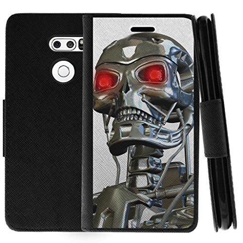 TurtleArmor   Compatible with LG V30 Case   LG V30+ Case   LG V30 Plus Case   Flip Book Leather Wallet Case Kickstand Cover with Card Slots Robot Military Army - Terminator Robot