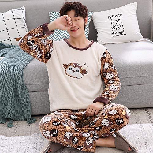 Pijama Hombre Invierno Conjuntos De Pijama De Franela Cálida Gruesa De Manga Larga De Invierno para Mujer Pijamas De Terciopelo Coralino para Dormir Ropa De Hogar para Hombre Ropa para El Hogar Me