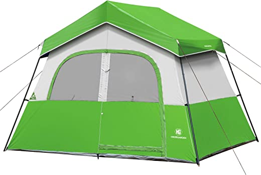 Camping Tent - HIKERGARDEN 6 Person Tent for Camping, Reinforced Steel Poles, Waterproof, Windproof Fabric, Family Tent with Easy Setup with Large Mesh for Ventilation, Portable Carry Bag