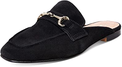 YDN Women Casual Backless Mules Loafer Slippers Closed Square Toe Slip On Flat Slide Shoes