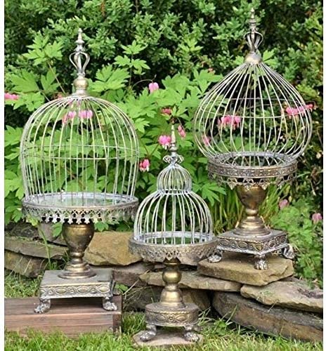 MISC Rapid rise Set of 3 Caged Candle Bombing free shipping Holders Looking Glass Base with Fr in