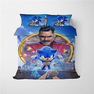 HRX3D Juego de cama de tres piezas Sonic Classic dibujos animados, edredón y funda de almohada de plumón, microfibra, impresión digital 3D, 1, 200 * 200 cm