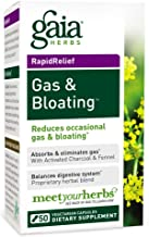 Gaia Herbs Gas & Bloating Supplement, Vegan Capsules, 50 count - Gas Relief Tablets Reduce Bloating and Improve Digestive Function, Activated Charcoal and Fennel