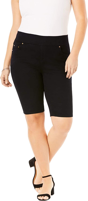 Jessica London Women's Plus Size Comfort Waist Short Pull On Stretch Denim