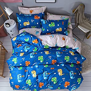 Chesterch Prevoster Teen Bedding Boys Dinosaur Print - Twin,Kids Duvet Cover Sets Blue 3 Pieces (1 Duvet Cover and 2 Pillowcases) - Soft,NO Comforter