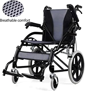 Wheelchair Aluminum Folding Wheelchair Full Elderly Reclining Portable Wheelchair Folding Belt Seated Semi-Recumbent Mesh Breathable Manual Travel Car, Blue/black Propelled The Wheelchair Loading 120k